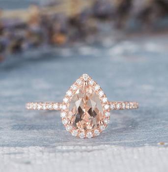 Art Deco 6*8mm Pear  Morganite Engagement Ring Rose Gold