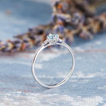 Aquamarine Ring Birthstone Anniversary Gift