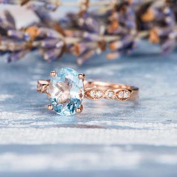 7*9mm Oval Cut  Aquamarine Engagement Ring