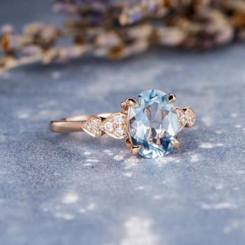 Anniversary Ring White Gold 7*9mm Oval Aquamarine Weeding  Ring