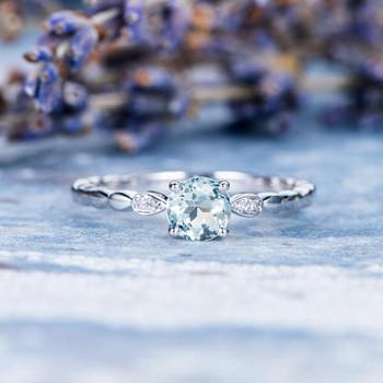 Leaf Eternity Band 5mm Round Aquamarine Engagement Ring
