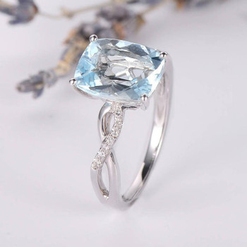 8*10mm Cushion Cut Blud  Aquamarine Engagement Ring