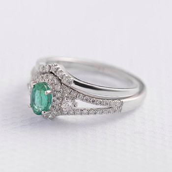 Emerald Ring Set 4*6mm Oval Cut Anniversary Ring