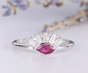 Antique Cluster Ring Marquise Ruby Promise Ring