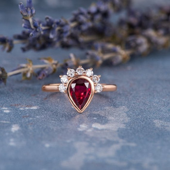 Pear Shaped Ruby Anniversary Ring