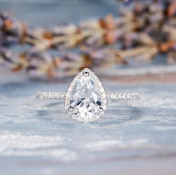 Birthstone Rose Gold  6*8 mm Pear Shaped White Topaz Ring