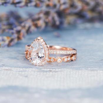 6*8mm Pear Shaped Engagement Ring Wedding Band Set