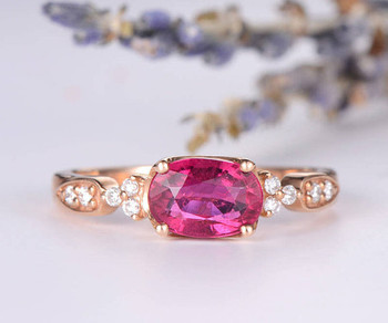 Oval Cut Pink Tourmaline Wedding Bridal Ring