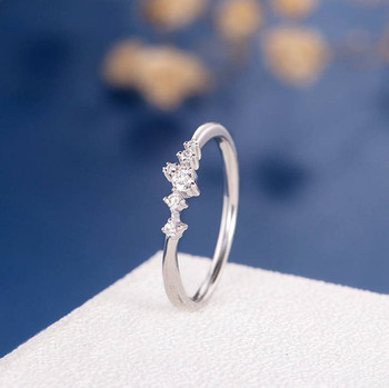 Diamond Cluster Ring Twig Tiny Snowflake Anniversary Ring