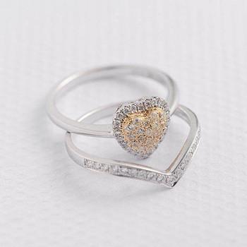 Heart Shaped Chevron  Yellow Diamond Wedding Ring Set