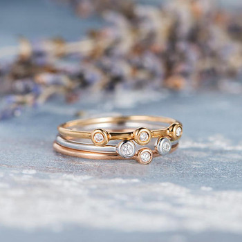 Minimalist Bezel Set Diamond Ring Set