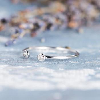 Diamond Open Ring Cuff Ring Bezel Set