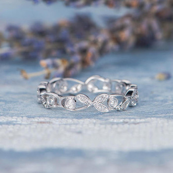 Unique Twig Ring Antique Leaf Flower Diamond Wedding Band