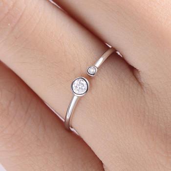 Diamond Open White Gold Ring Bezel Set Promise ring