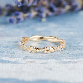 Infinity Gold Ring Knot Ring Diamond Wedding Band