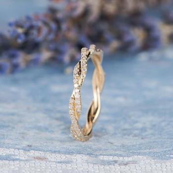 Infinity Gold Ring Knot Ring Diamond Wedding Band
