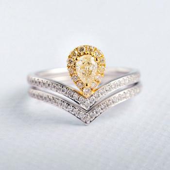 Yellow Diamond 4*5mm Pear Cut Unique Bridal Set