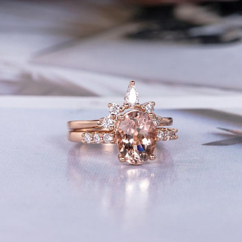 6*8 Oval Cut Morganite Wedding Ring Rose Gold