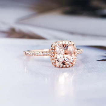 6mm Cushion Cut Morganite Engagement Ring Rose Gold