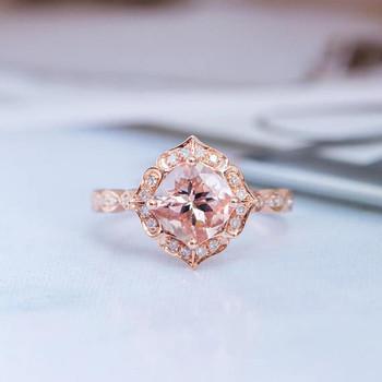 7mm Cushion Cut Art Deco Wedding Morganite Ring