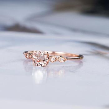 Unique Promise 5mm Round Cut Morganite Engagement Ring