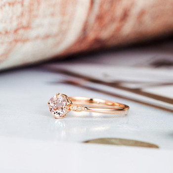 Art Deco Diamond Wedding 5mm Round Cut Morganite Ring