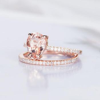 6*8mm Pear Shaped Engagement Ring Morganite Ring Set