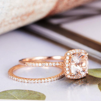 7mm Cushion Cut Diamond Wedding Morganite Ring Set