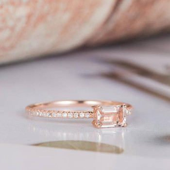 4*6mm Emerald Cut Morganite Promise Ring