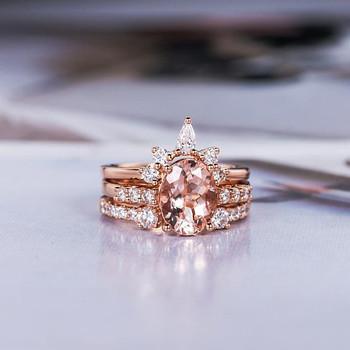 3 psc 6*8mm Oval Cut Morganite Engagement Ring Rose Gold Bridal Set