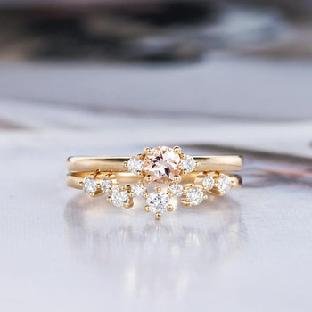 Yellow Gold 4mm Round Cut Morganite Bridal Set Engagement Ring Set