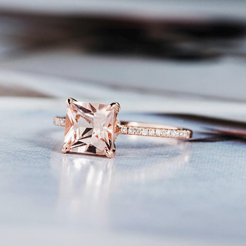 Antique Wedding Diamond Halo 7mm Princess Cut Morganite Ring