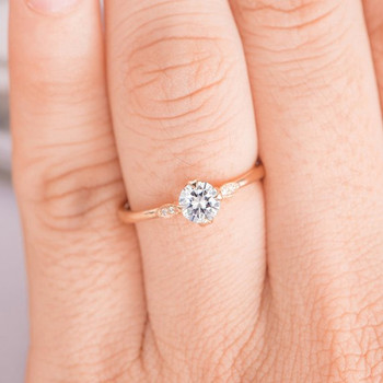 Art Deco Diamond Wedding 5mm Round Moissanite Ring