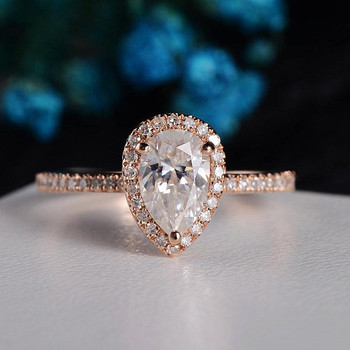 6*9mm Pear Shaped Moissanite Engagement Ring