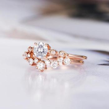 Bridal Antique 5mm Round Cut Moissanite Engagement Ring Set