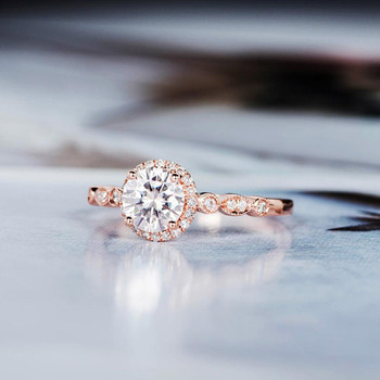 Halo Diamond Art Deco 6.5mm Round Cut  Moissanite Ring