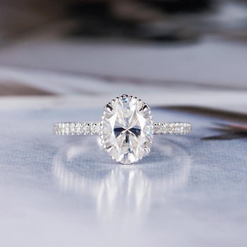 7*9mm Oval Cut Moissanite Bridal Ring Floral Unique