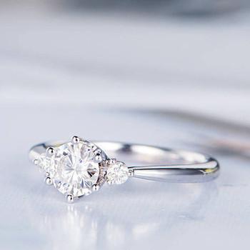 5mm Round Cut Moissanite Engagement Ring Antique Wedding Ring