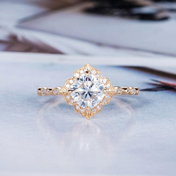 7mm Cushion Cut Moissanite Ring Women Vintage Ring