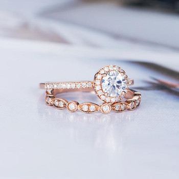 5mm Round Cut Moissanite Engagement Ring Sets Bridal Sets