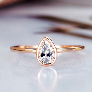 4*6mm Pear Shaped Moissanite  Wedding Ring