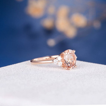 7*9mm Oval Cut Promise Bridal Morganite Ring