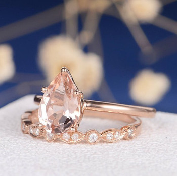 6*9mm Pear Cut Morganite Engagement Ring Set
