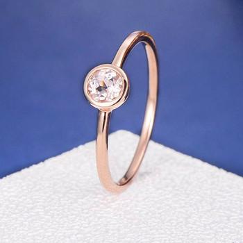 Bezel Set Morganite Ring Stacking Minimalist Anniversary Ring
