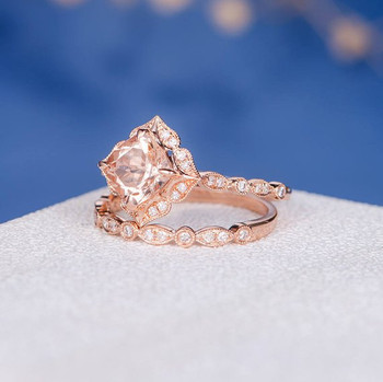 7mmCushion Cut Morganite Halo Diamond  Bridal Set Retro 2pcs