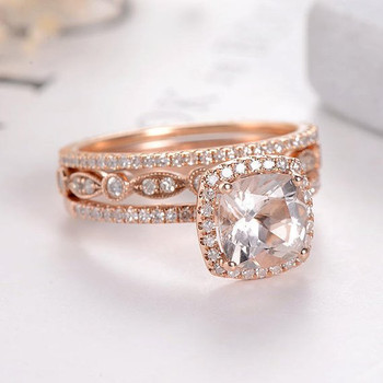 7mm Cuhion Cut Morganite Bridal Set Eternity Band Stacking Dainty Halo