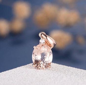 7*9mm Oval Cut Pink Morganite Pendant Rose Gold