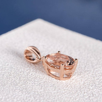7*9mm Oval Cut Pink Morganite Pendant Rose Gold