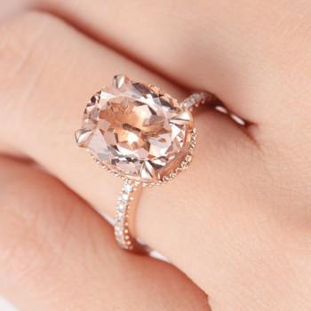 9*11mm Oval Cut Big Unique Antique Morganite Engagement Ring