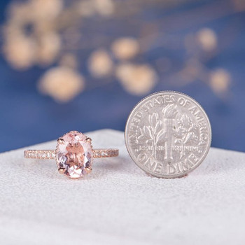7*9mm Oval Cut Big Unique Antique Morganite Engagement Ring